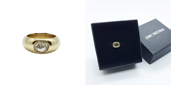 Image of a freeform diamond ring and Jenny Sweetnam packaging